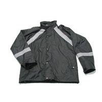 Czarna kurtka przeciwdeszczowa z haftem komputerowym